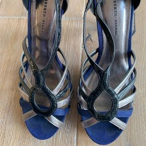 """Roberto Vianni metallic pewter/silver, black and blue suede open-toed heels - 3"""""""
